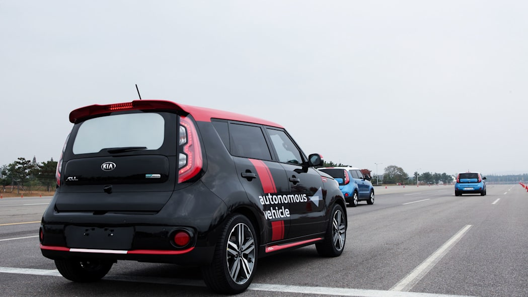 kia soul ev autonomous rear three quarters