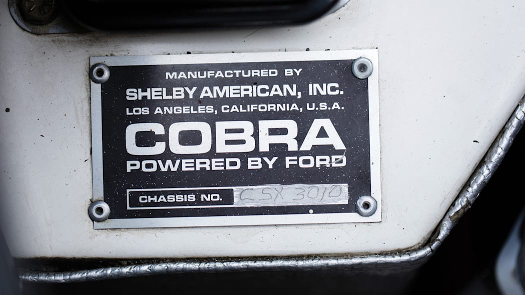 1965 Shelby 427 Competition Cobra VIN plate