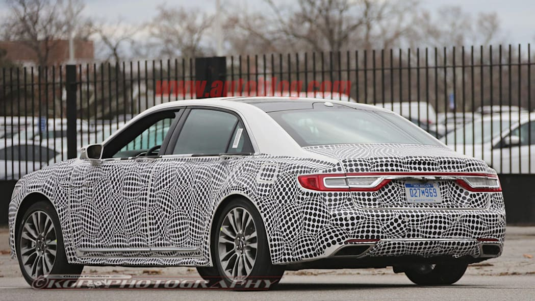 lincoln continental spy shot rear three quarters taillights