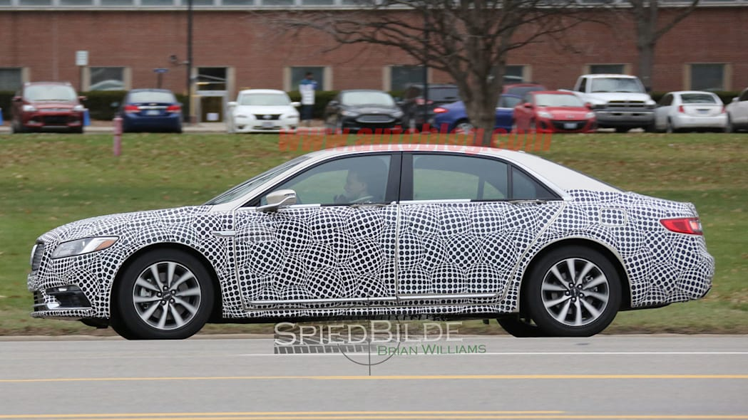 lincoln continental exterior spy shot profile camouflage
