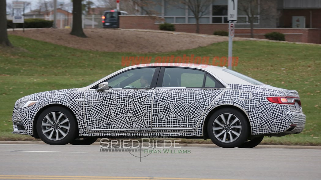 lincoln continental exterior spy shot side camouflage