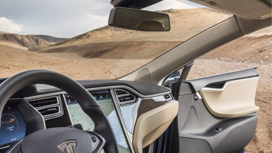The interior of a Model X on the site of Tesla Gigafactory 1 in Sparks, Nevada.