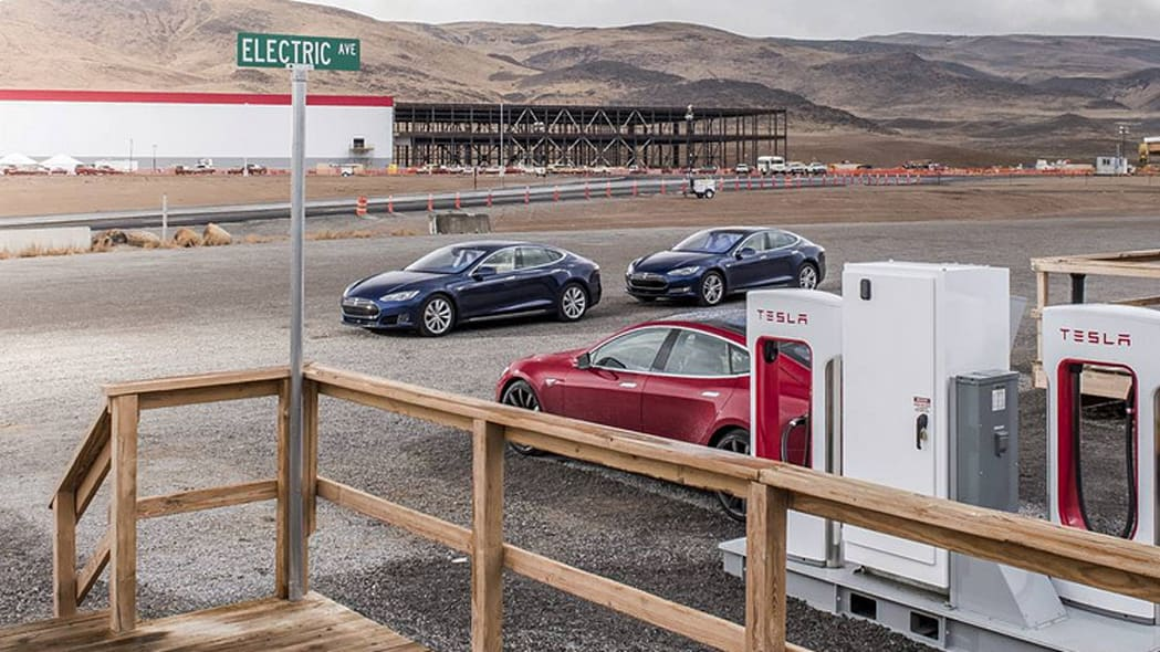 Charging stations and Tesla Model S' at Tesla Gigafactory 1 in Sparks, Nevada.