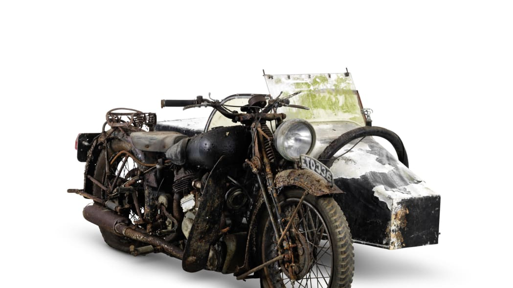 1938 brough superior 982cc ss80 with sidecar three quarters