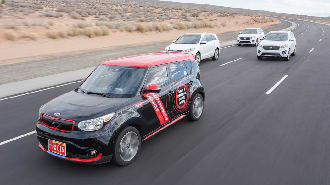 kia autonomous soul ev on road