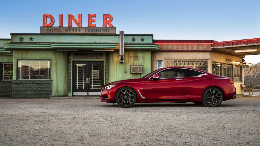 The 2017 Infiniti Q60 Coupe, side view, outside.