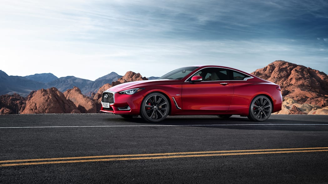 The 2017 Infiniti Q60 Coupe, side view, dynamic shot.