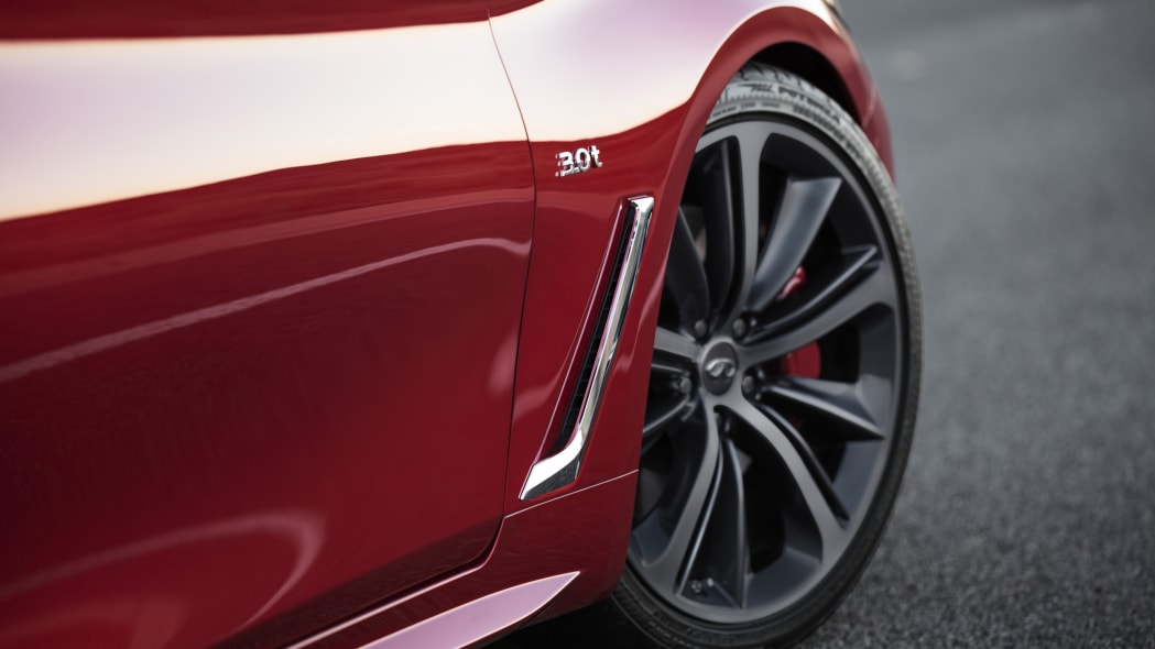 The 2017 Infiniti Q60 Coupe, fender vent detail.