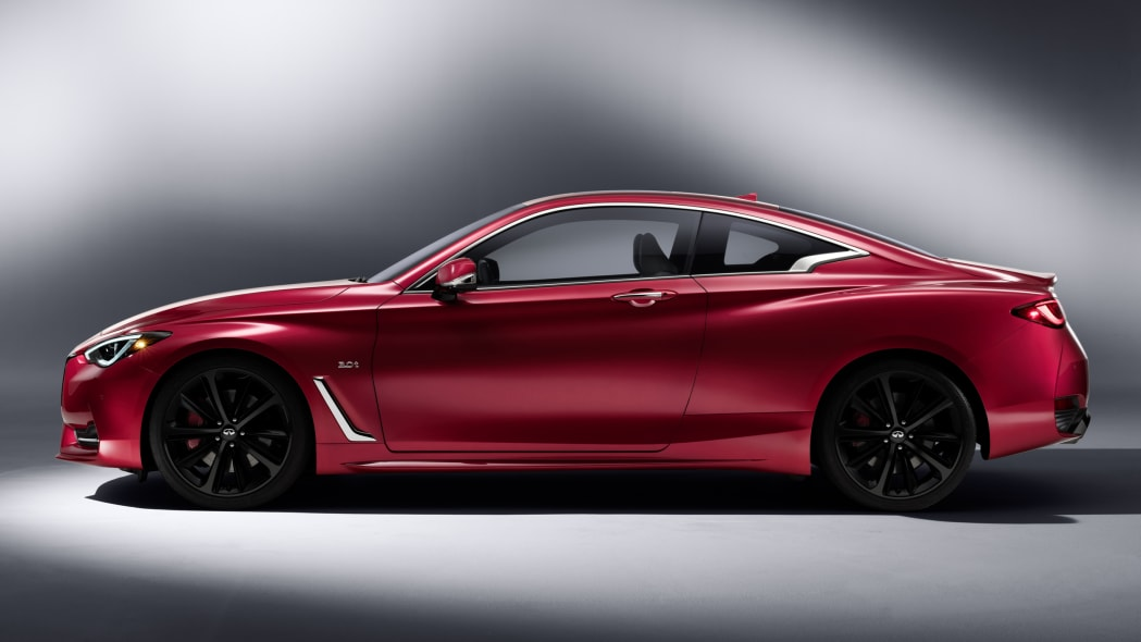 The 2017 Infiniti Q60 Coupe, side view, studio.