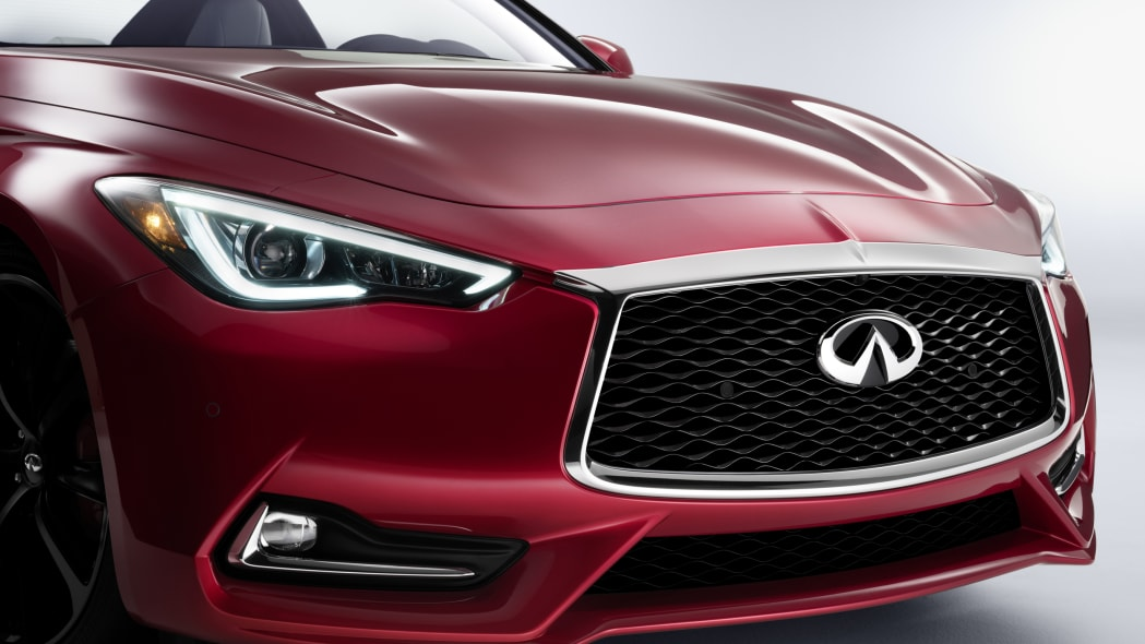 The 2017 Infiniti Q60 Coupe, front fascia close up.