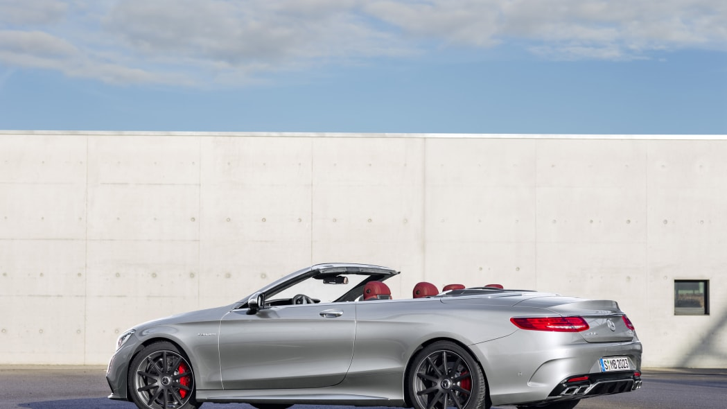 Mercedes-AMG S63 Cabriolet Edition 130 roof down rear 3/4