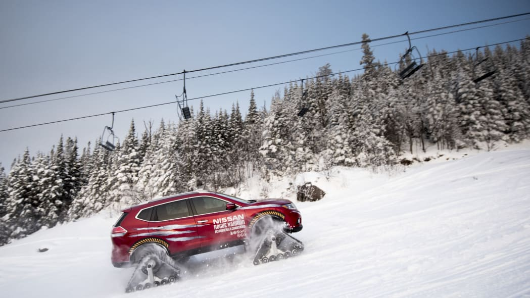 nissan rogue warrior going up the ski slope