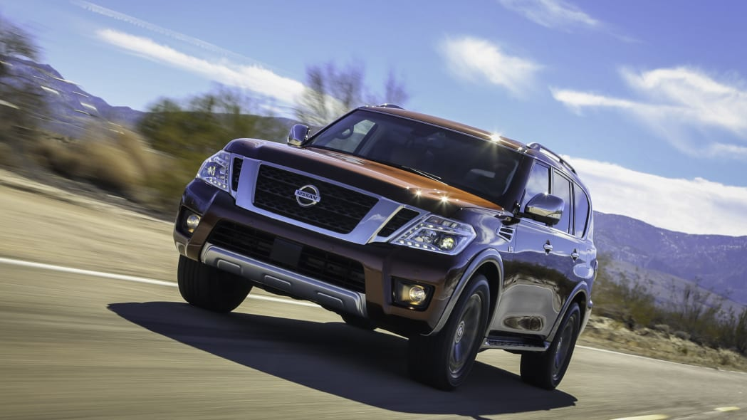 2017 nissan armada front detail on the road