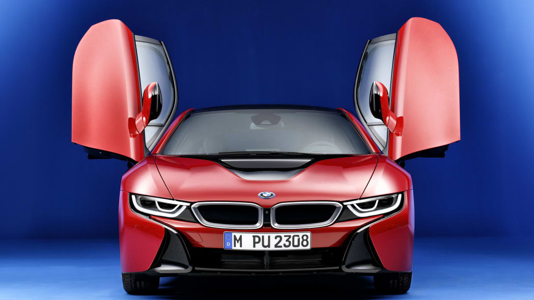 bmw i8 protonic red edition doors open