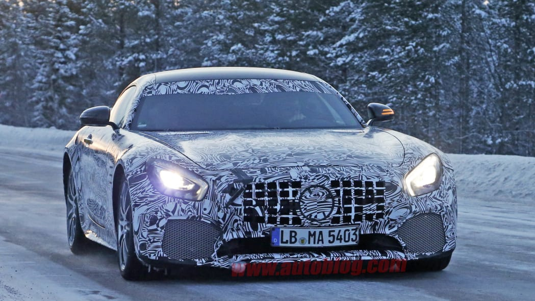 Mercedes-AMG GT R cold weather spied front 3/4