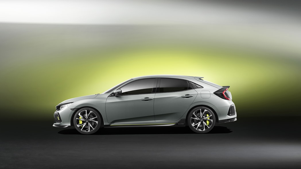 The 2017 Honda Civic Hatchback prototype, side view.