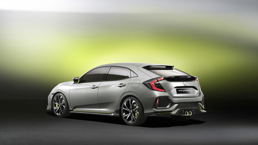 The 2017 Honda Civic Hatchback prototype, rear three-quarter view.