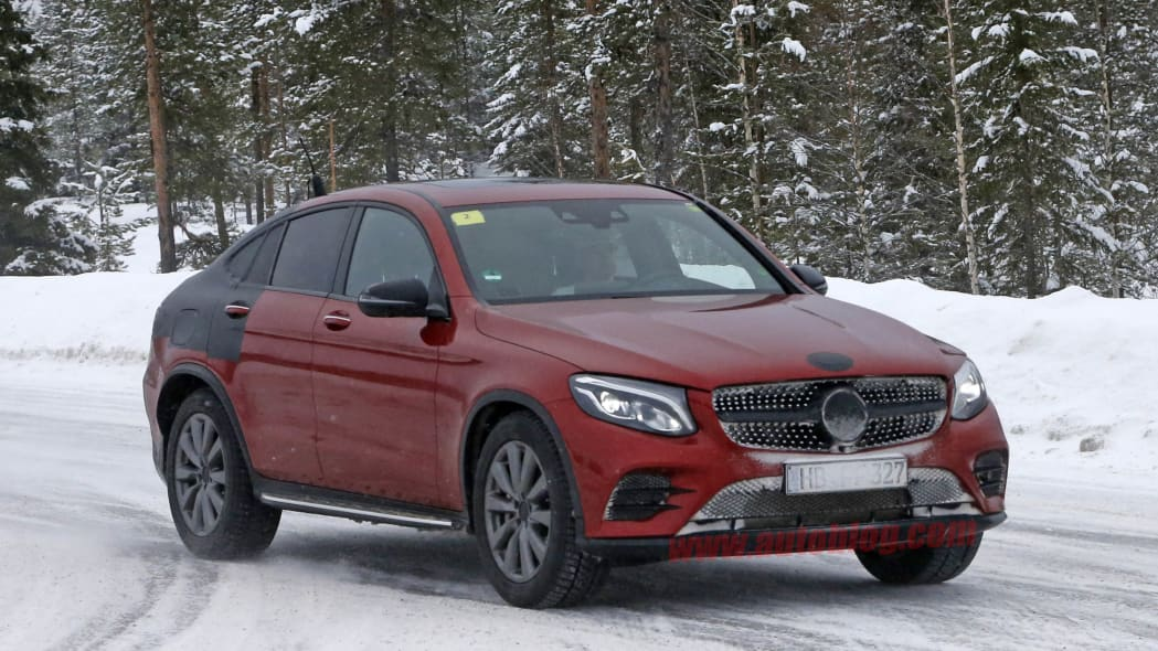 Mercedes-Benz GLC Coupe red prototype front 3/4