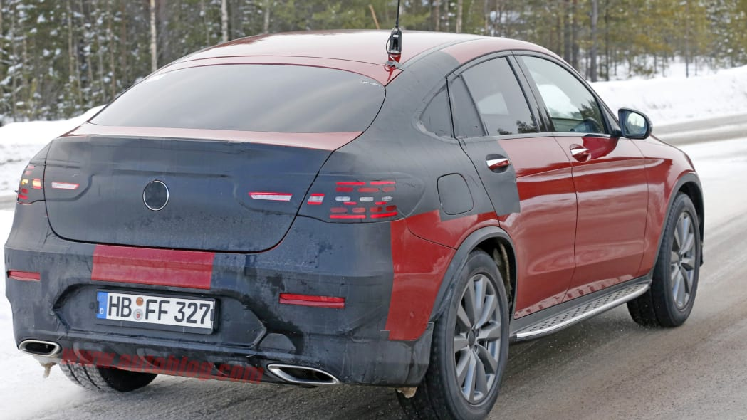 Mercedes GLC Coupe red prototype rear 3/4