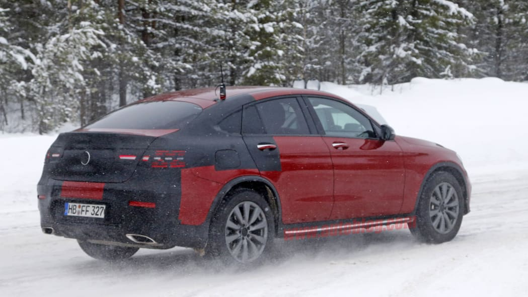 Mercedes-Benz GLC Coupe red prototype rear 3/4