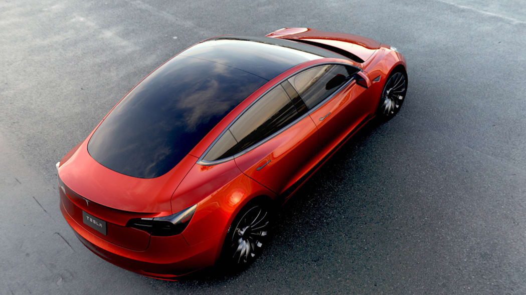 Tesla Model 3 red above