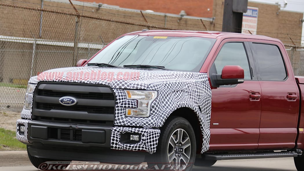 red 2018 ford f-150 spy shots front detail