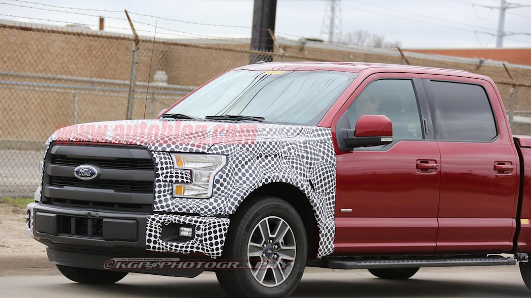red 2018 ford f-150 spy shots front three quarters detail