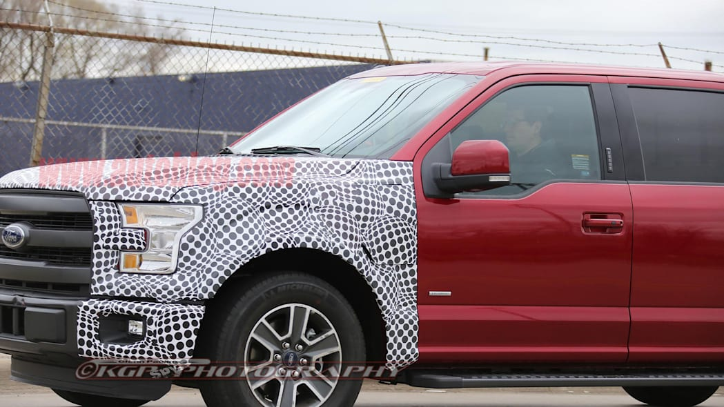 red 2018 ford f-150 spy shots detail