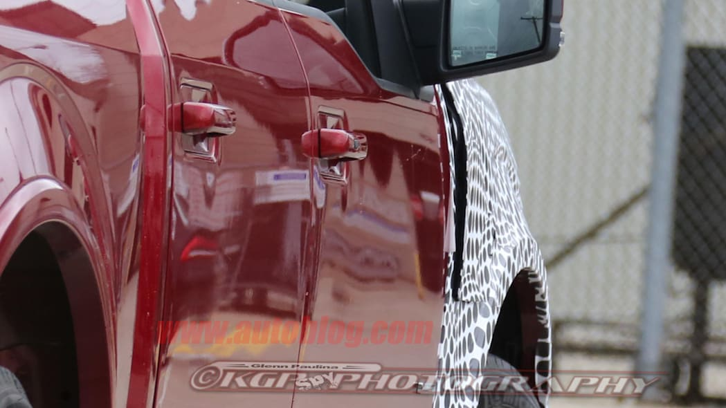 red 2018 ford f-150 spy shots fender vent