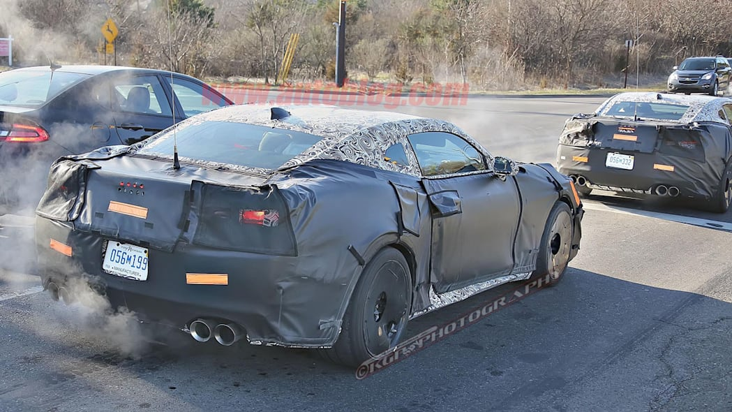 chevy camaro z28 spy shot pair rear three quarters