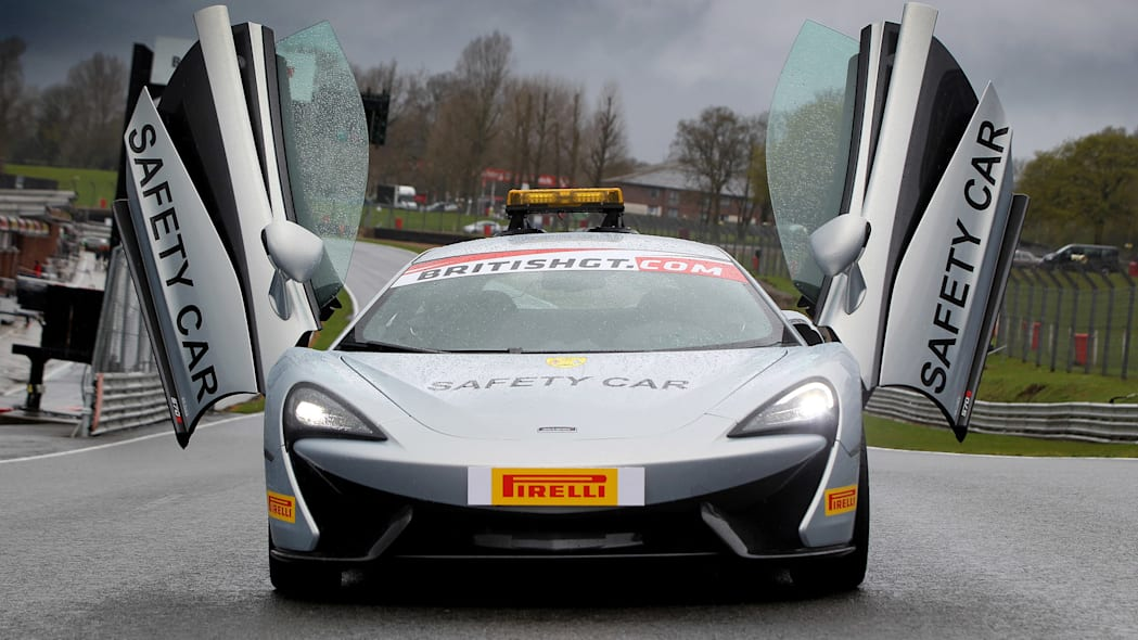 McLaren 570S British GT Championship Safety Car front doors up