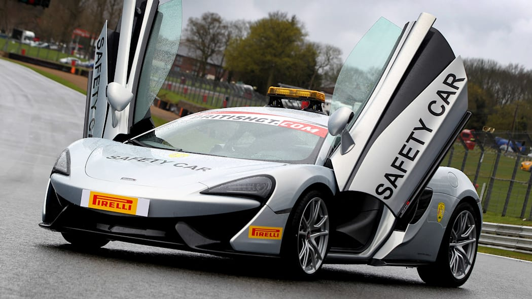 McLaren 570S British GT Championship Safety Car doors up