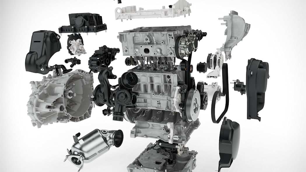 volvo 3 cylinder exploded view block head