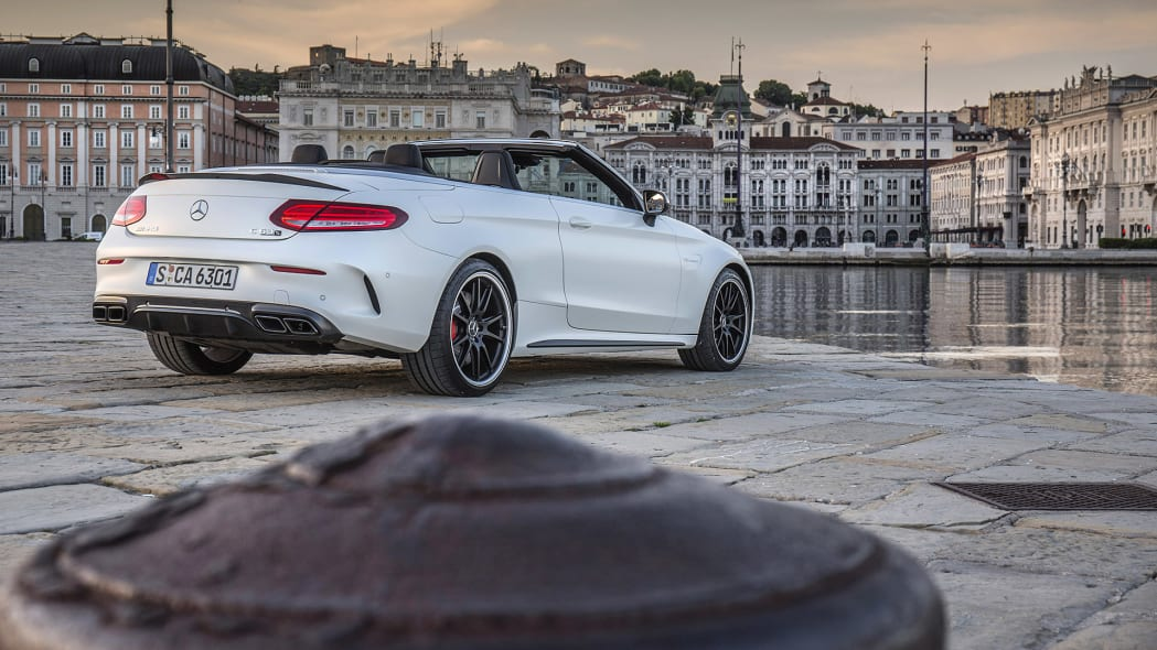 2017 Mercedes-AMG C63 S Cabriolet rear 3/4 view