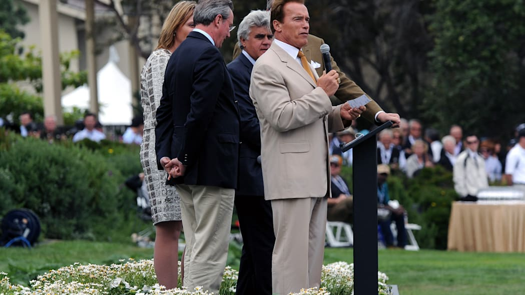 Governor Arnold Schwarzenegger and Jay Leno at the 59th Pebble Beach Concours d'Elegance