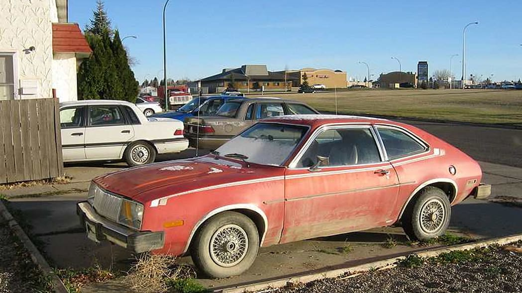 This is the Mercury Bobcat. It was first built in 1975. It is based on the Ford Pinto. Yes, it also had a propensity to burst in
