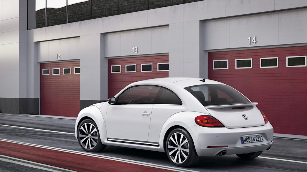 2012 Volkswagen Beetle exterior from rear in white