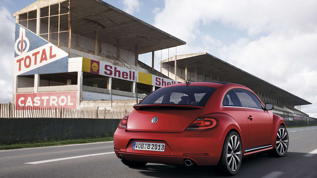 2012 Volkswagen Beetle in red from rear