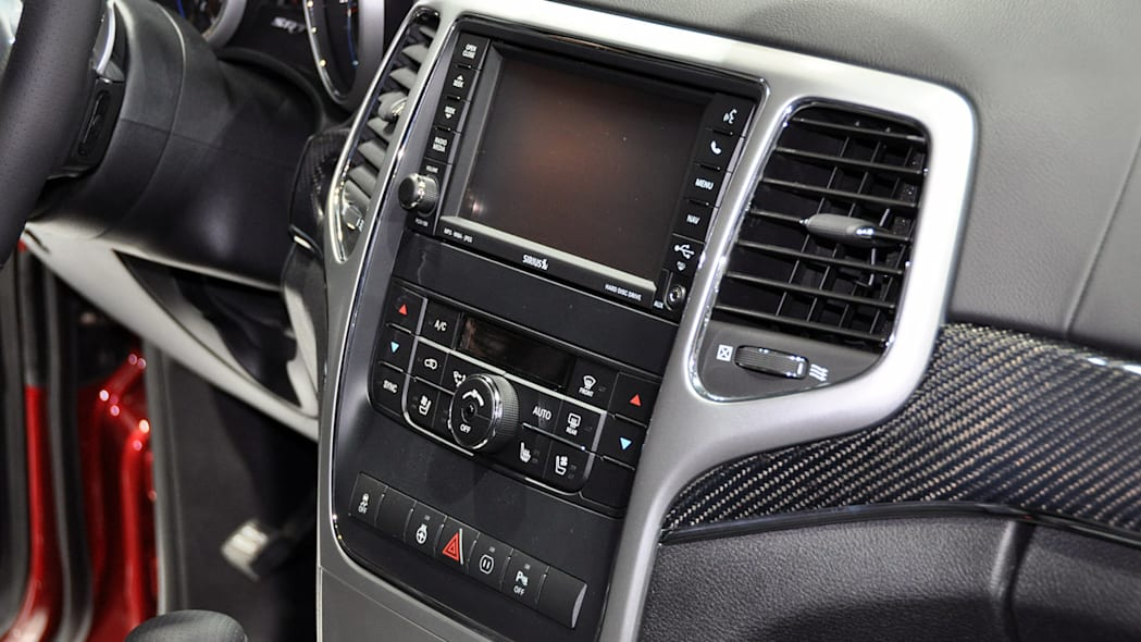 2012 Jeep Grand Cherokee SRT8 infotainment and climate controls at the 2011 New York Auto Show