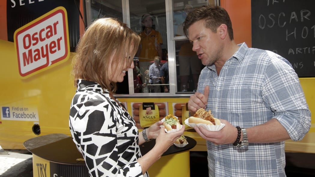 Tyler Florence and the Oscar Mayer Weinermobile