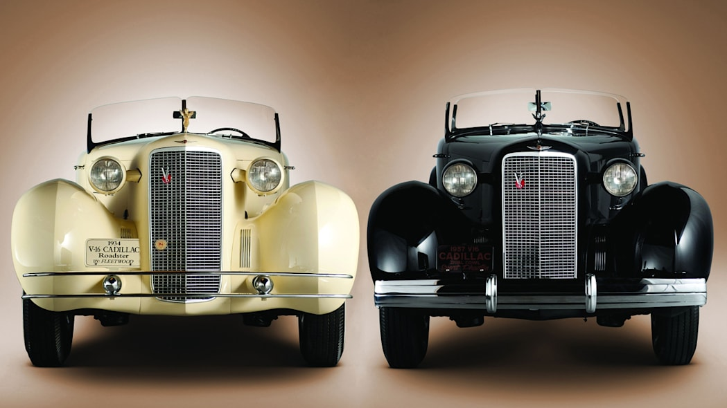 1934 Cadillac V16 rumbleseat roadster and 1936 Phaeton