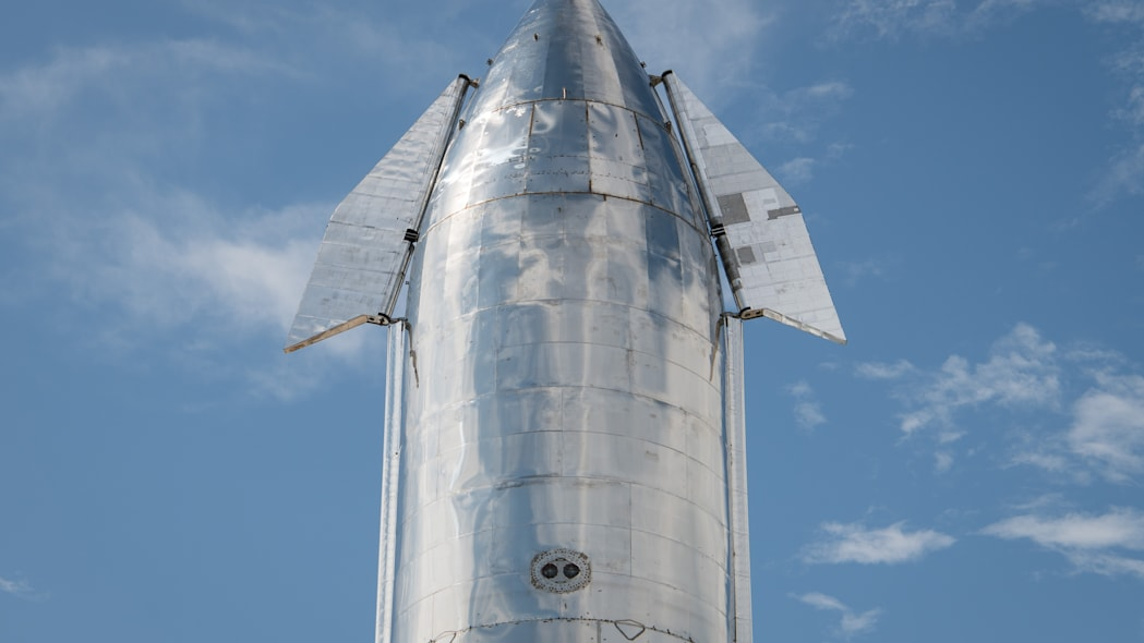 BOCA CHICA, TX - SEPTEMBER 28: A prototype of SpaceX's Starship spacecraft is seen at the company's Texas launch facility on September 28, 2019 in Boca Chica near Brownsville, Texas. The Starship spacecraft is a massive vehicle meant to take people to the Moon, Mars, and beyond. (Photo by Loren Elliott/Getty Images)