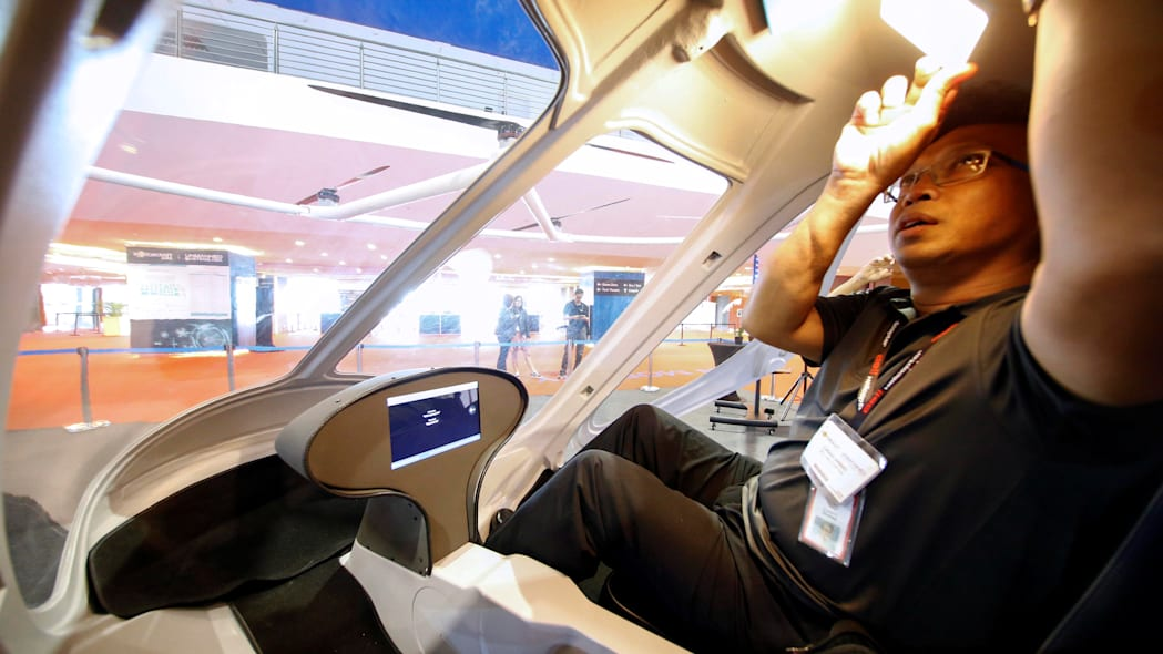 The interior of an air taxi by German company Volocopter is pictured at the Rotorcraft Asia trade show in Singapore, April 11, 2019. REUTERS/Feline Lim