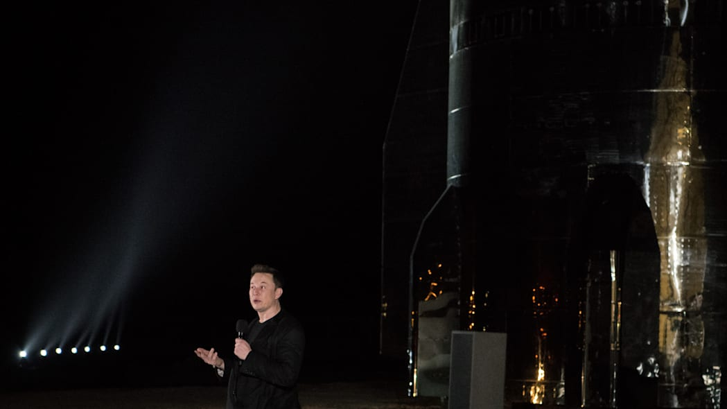 BOCA CHICA, TX - SEPTEMBER 28: SpaceX CEO Elon Musk gives an update on the next-generation Starship spacecraft at the company's Texas launch facility on September 28, 2019 in Boca Chica near Brownsville, Texas. The Starship spacecraft is a massive vehicle meant to take people to the Moon, Mars, and beyond. (Photo by Loren Elliott/Getty Images)