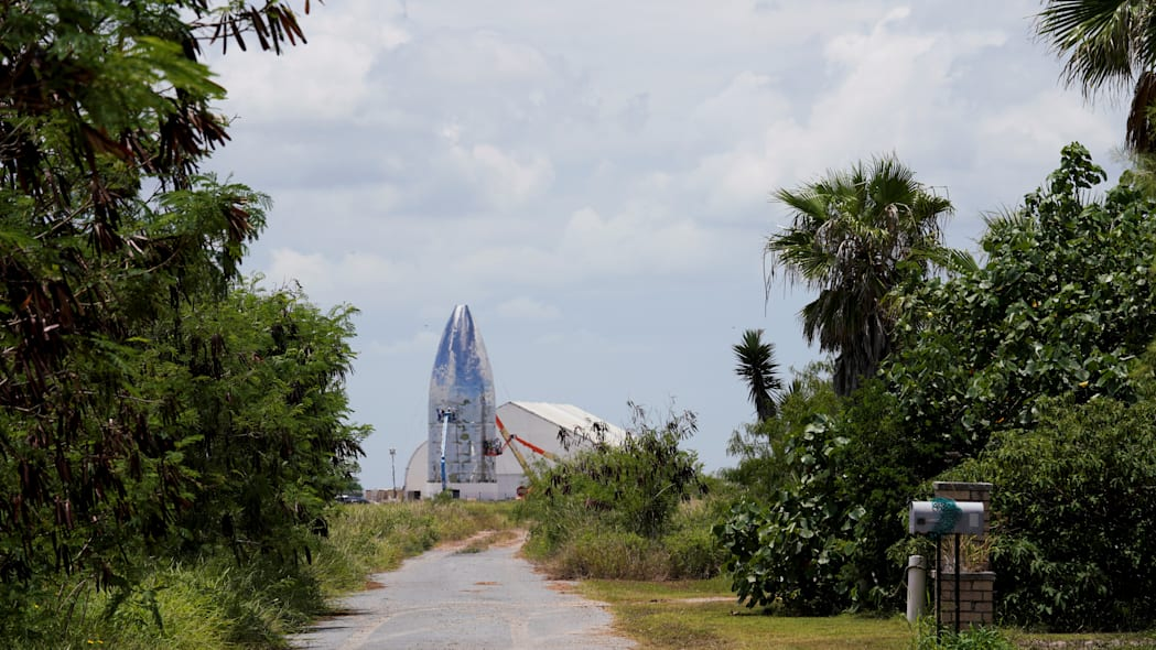 Starship prototype as seen on the day that SpaceX performs an untethered test of the company's Raptor engine mounted on a Starhopper rocket at their facility in Boca Chica, near Brownsville, Texas, U.S. July 25, 2019. Picture taken July 25. REUTERS/Veronica G. Cardenas
