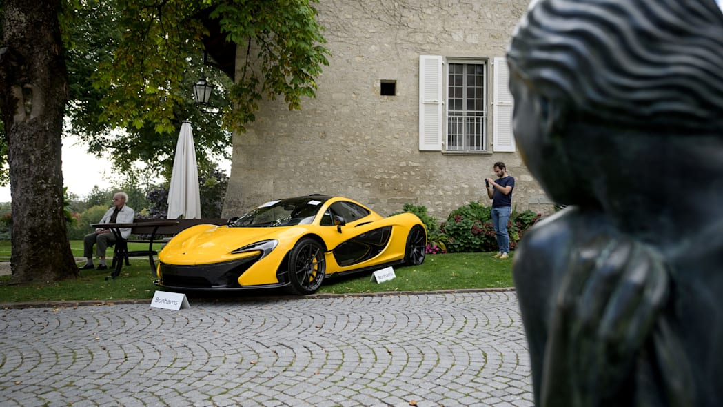 A picture taken on September 28, 2019 at the Bonmont Abbey in Cheserex, western Switzerland shows a McLaren P1 coupe model car during an auction preview by sales house Bonhams of sport cars belonging to the son of the Equatorial Guinea's President. - A collection of luxury cars seized from Equatorial Guinea's vice president Teodorin Obiang Nguema will be auctioned off in Switzerland on September 29, 2019 and are estimated to bring in 18.5 million Swiss francs. (Photo by FABRICE COFFRINI / AFP)        (Photo credit should read FABRICE COFFRINI/AFP/Getty Images)