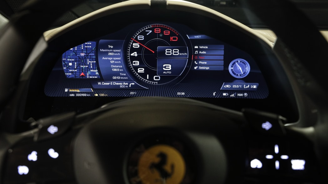 The dashboard of the Ferrari Roma car, unveiled in Rome, Thursday, Nov. 14, 2019. Ferrari unveils a new sports coupe aimed at enticing entry-level buyers and competing with the Porsche 911, part of a complete refresh of its model lineup by 2022. (AP Photo/Gregorio Borgia)