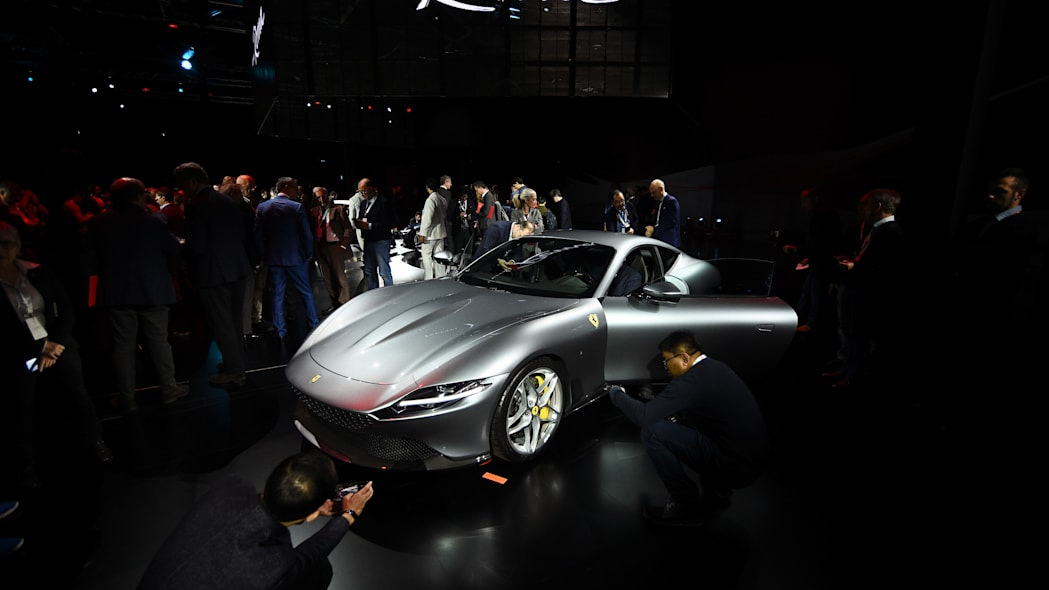 Ferrari Roma is unveiled during its first world presentation in Rome, Italy, November 14, 2019. REUTERS/Guglielmo Mangiapane