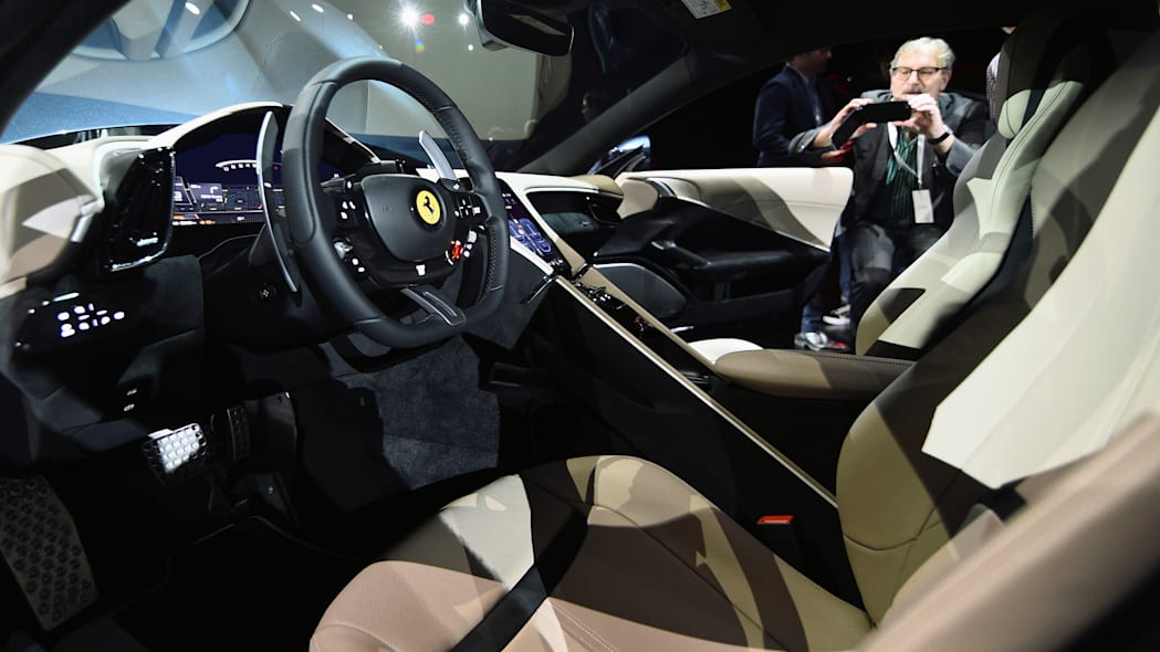Interior details of the new Ferrari Roma are pictured after it was unveiled during its first world presentation in Rome, Italy, November 14, 2019. REUTERS/Guglielmo Mangiapane