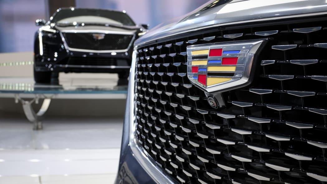 Cadillac logo at the New York International Auto Show